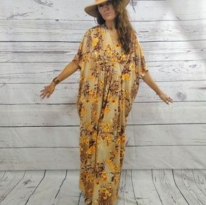 Butterfly sleeve 70s polyester print dress